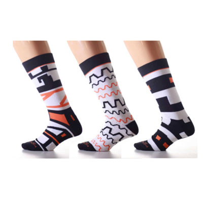 Matching Pair + Mismatched Spare - Black Orange Patterns (3 Pk)