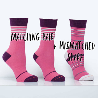 Matching Pair + Mismatched Spare - Pink Stripes (3 Pk)