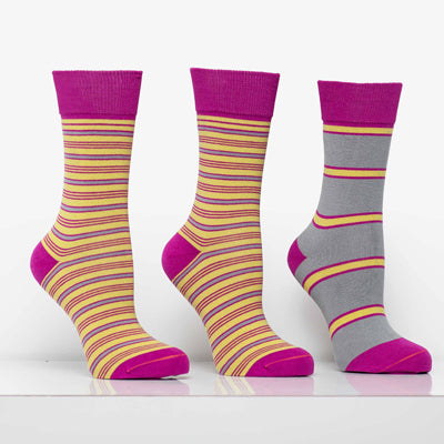 Matching Pair + Mismatched Spare - Pink & Yellow (3 Pk)