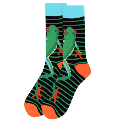 Men's Frog Striped Novelty Socks