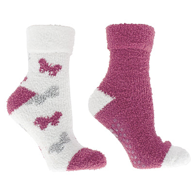 Women's Rose and Shea Butter Infused 2-Pair Pack Slipper Socks with Sachet Gift,
