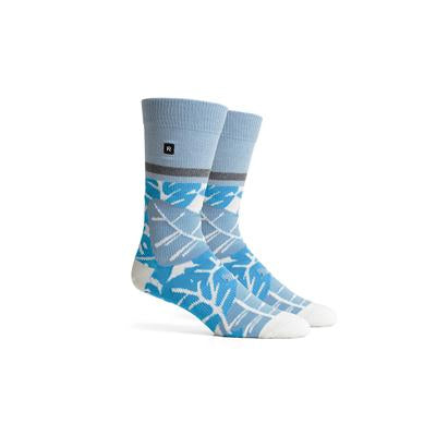 Men's Barker White Blue Crew Socks