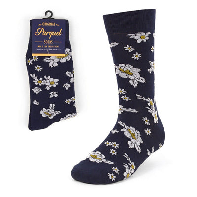 Navy Floral Wedding Novelty Crew Socks