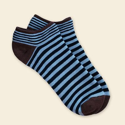 Organic Cotton Footie - Navy/Blue Stripe