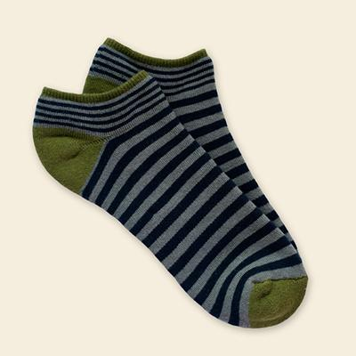 Organic Cotton Footie - Grey/Navy Stripe
