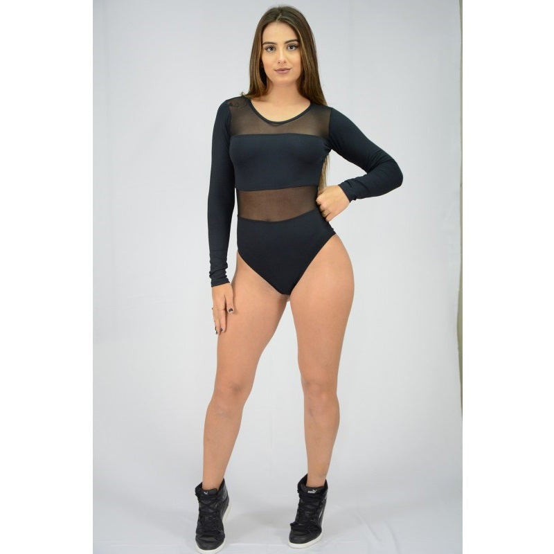 Black Mesh Long Sleeve Bodysuit
