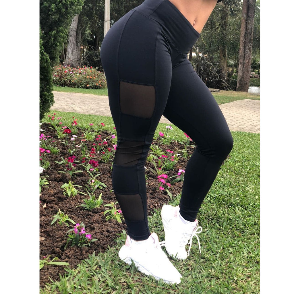 Black with Mesh High Waist Leggings