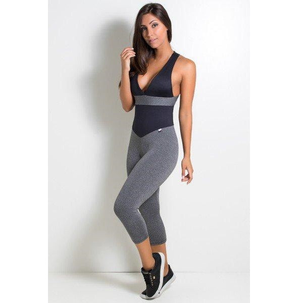 Fitness Jumpsuit Black and Gray
