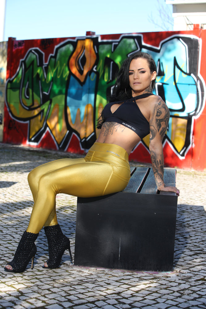 Gold Disco Leggings with pockets