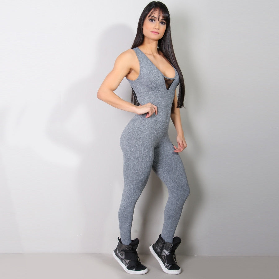 Grey Mesh Sports Jumpsuit