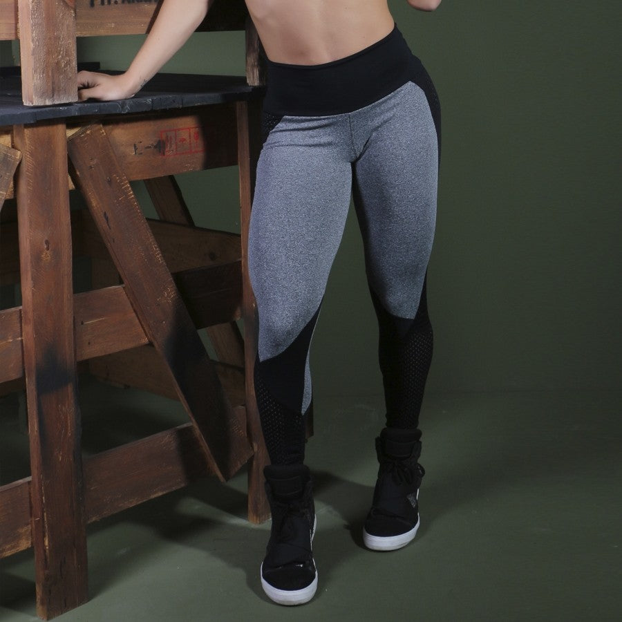 Grey Sports Leggings High Waist