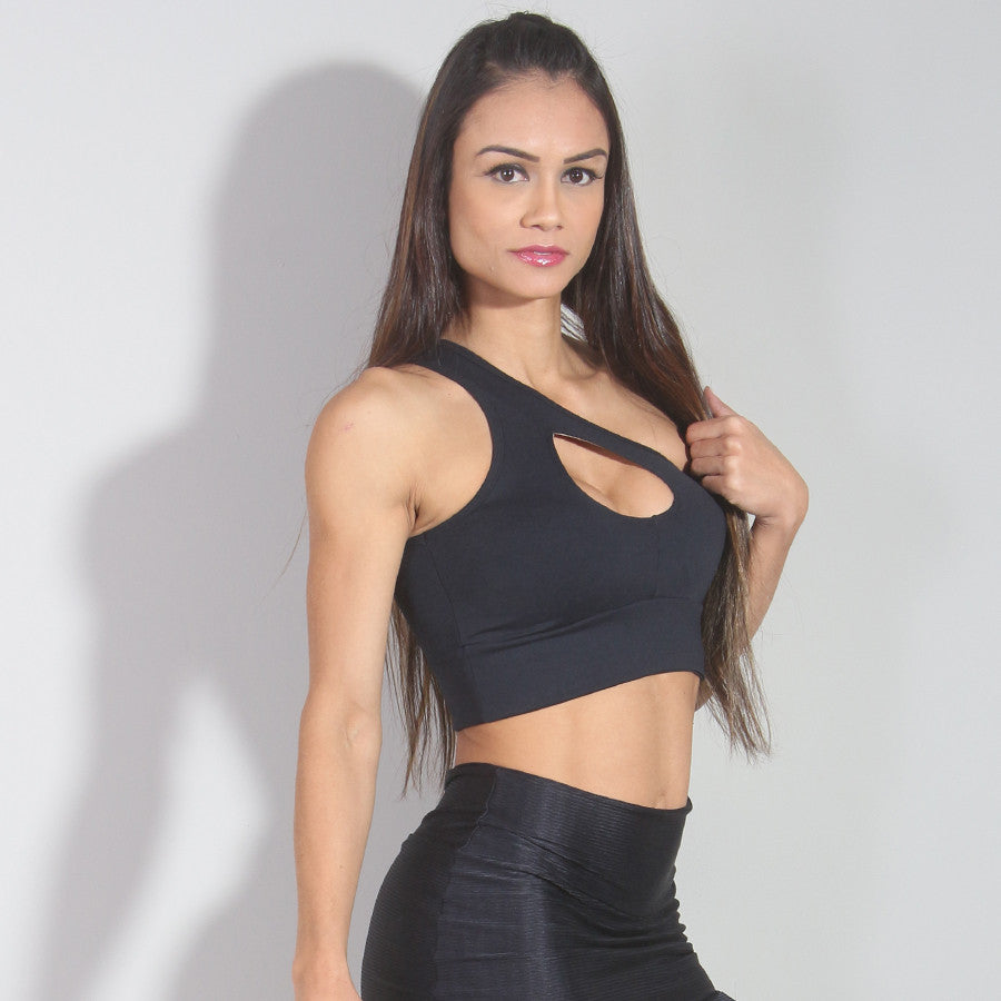 One Shoulder Black Cropped