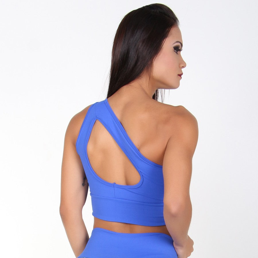 One Shoulder Blue Cropped