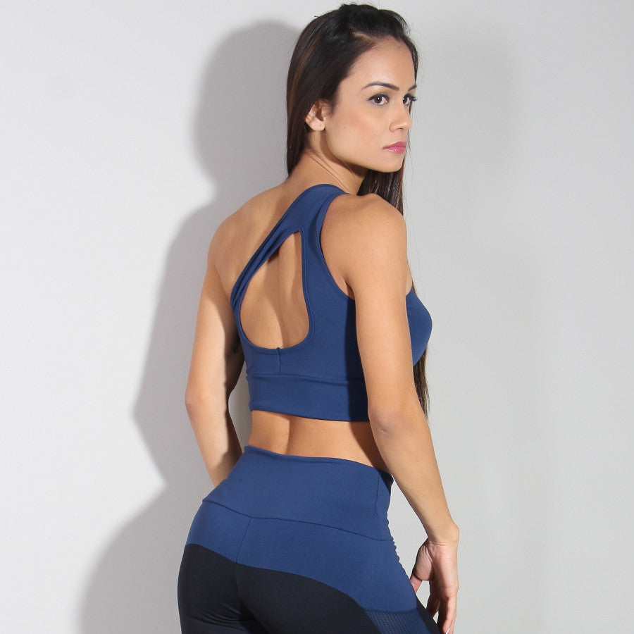 One Shoulder Navy Cropped