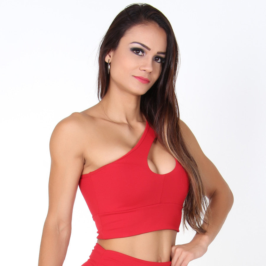 One Shoulder Red Cropped
