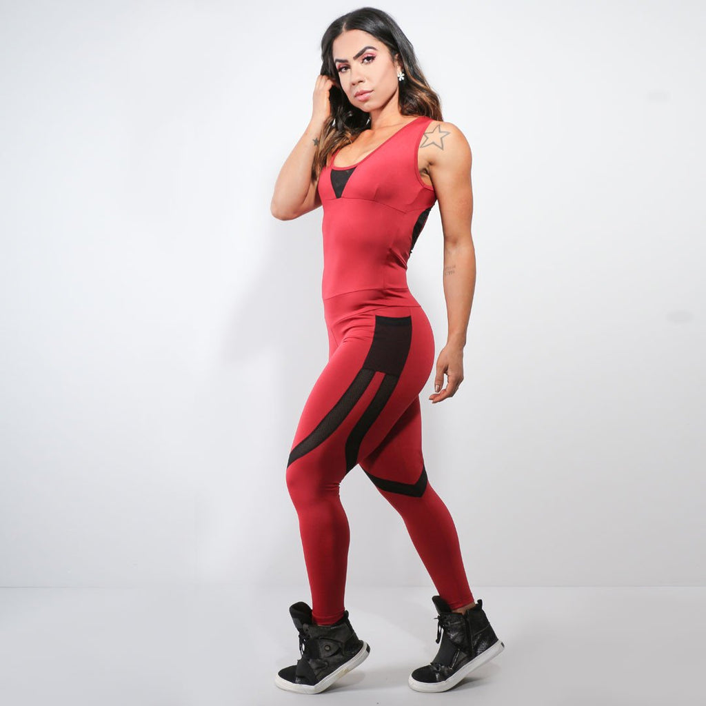 Red Jumpsuit with Pockets