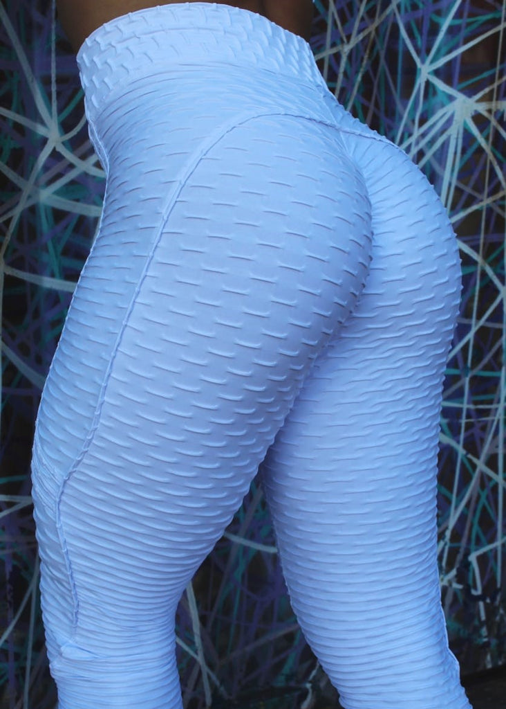 White Booty Lifting Anti-Cellulite Leggings