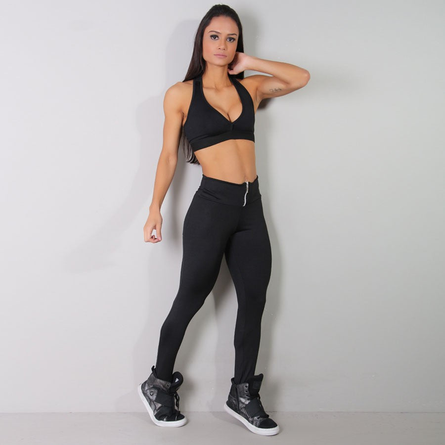 Womens Black High Waist Zipper Leggings