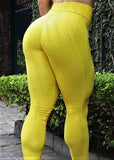 Yellow Booty Lifting Anti-Cellulite Leggings