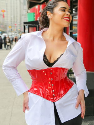 woman in NY Chinatown in red PVC Hourglass Curve Waspie Underbust Corset CS-201