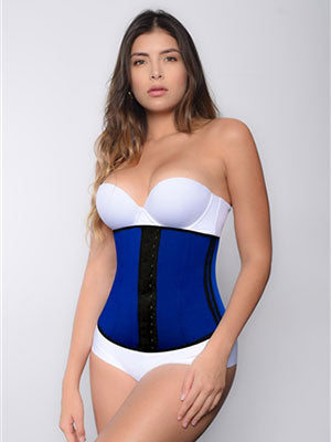 woman in latex waist cincher in dark blue