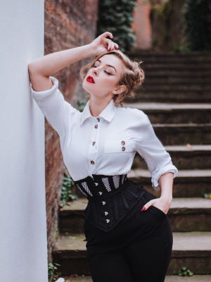 woman in black mesh Hourglass Curve Waspie Corset CS-201 and white button-up shirt