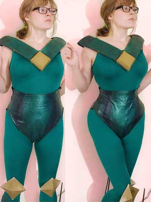 woman in Peridot cosplay with and without steel-boned corset