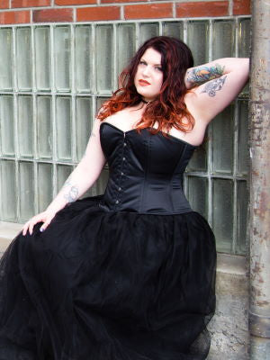 Brittney in black satin Hourglass Curve CS-411 Overbust Corset