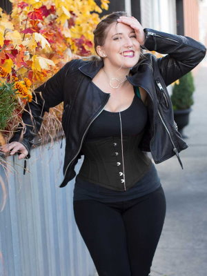 woman in all black casual clothing wearing black cotton waist trainer corset style number CS-201