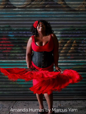 Amanda Humes in black brocade Hourglass Curve Longline CS-345 Underbust Corset with red dress and fans