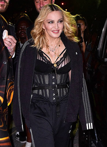 Madonna in a black mesh Orchard Corset