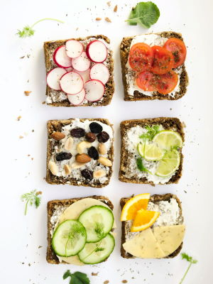 healthy open-face sandwiches with veggie toppings