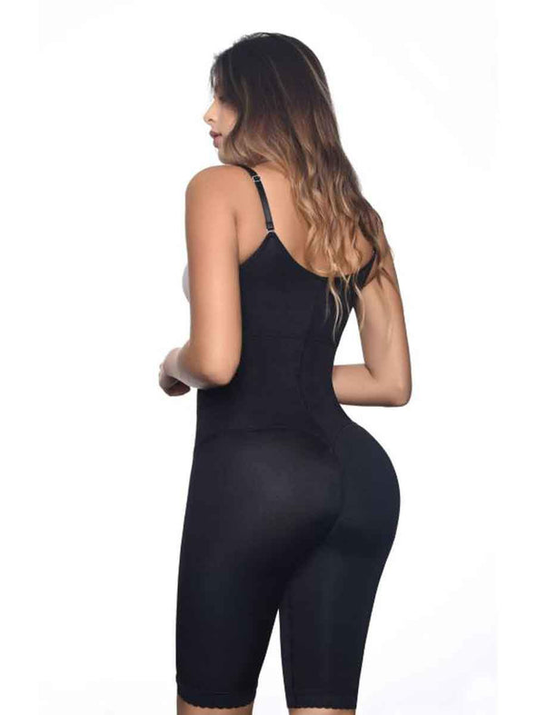 back view of 117 vedette body shaper in black underbust thigh slimming and torso shaping and smoothing