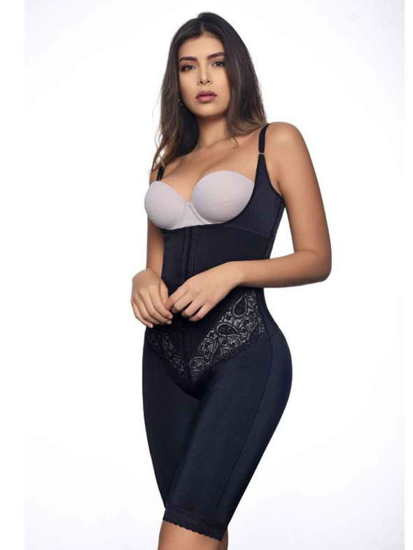 alternate imange of 117 vedette body shaper in black underbust thigh slimming and torso shaping and smoothing