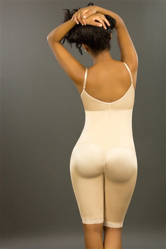 Model wearing our Vedette 179 Latex underbust bodysuit in beige back view not showing the side