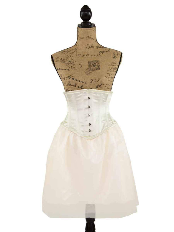 cs 201 ivory satin steel boned corset dress with tulle skirt on tan mannequin