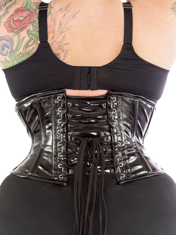plus size black PVC cs-201 waspie waist trainer, back