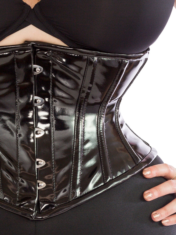 plus size black PVC cs-201 waspie waist trainer, close up front