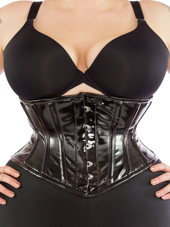 plus size black PVC cs-201 waspie waist trainer, front