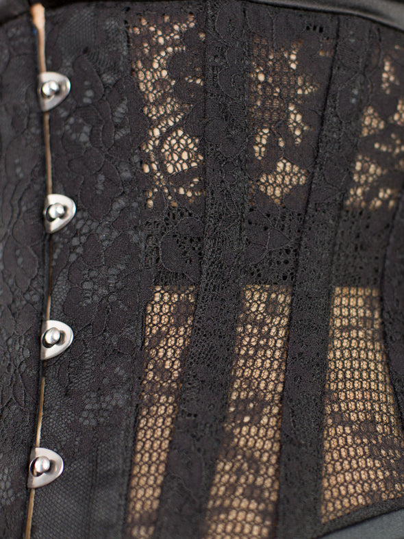 close up of black lace weave to show texture