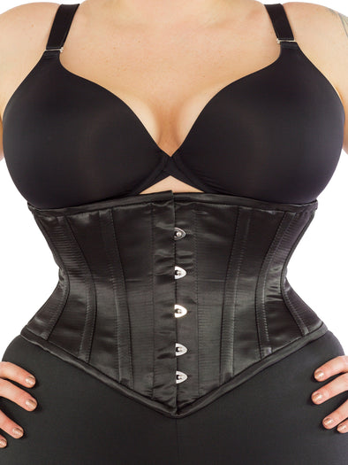 cs 201 black satin plus size waist trainer corset, front
