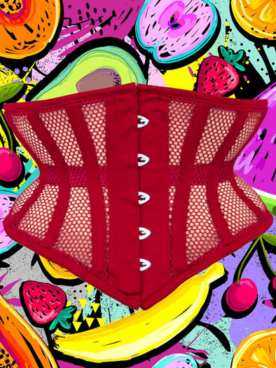 Limited Edition hourglass curve 201 waist trainer corset in cool mesh shown in Lychee red on tropical fruit background