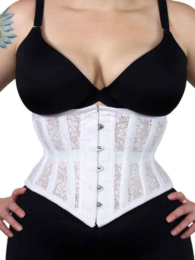 white lace and mesh corset in the cs201 front view with steel busk