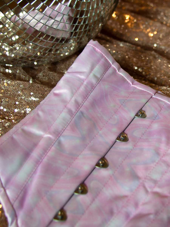 Close up of pink watercolor galaxy satin in style cs201 hourglass curve