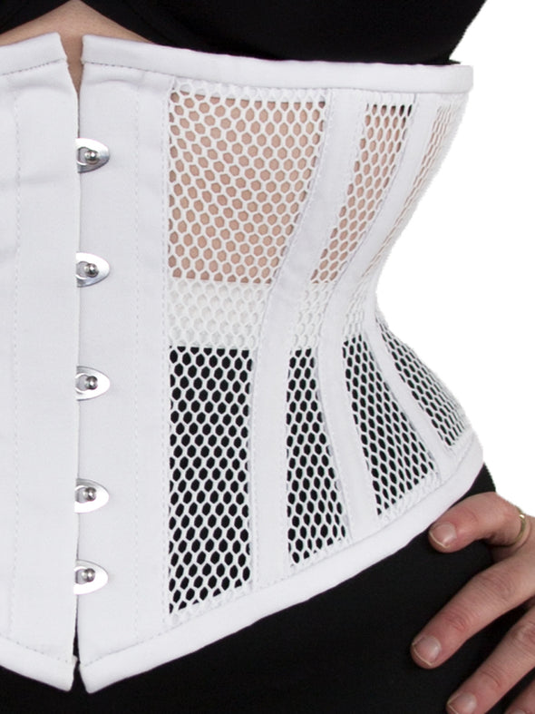 Limited Edition White Mesh Hourglass Curve Waspie Underbust Corset : CS-201