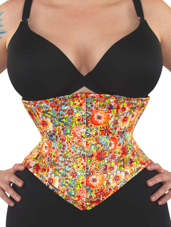 cf8d1bdfe Limited Edition Flower Power Printed Floral Satin Underbust Corset Waspie  (CS-201) ...