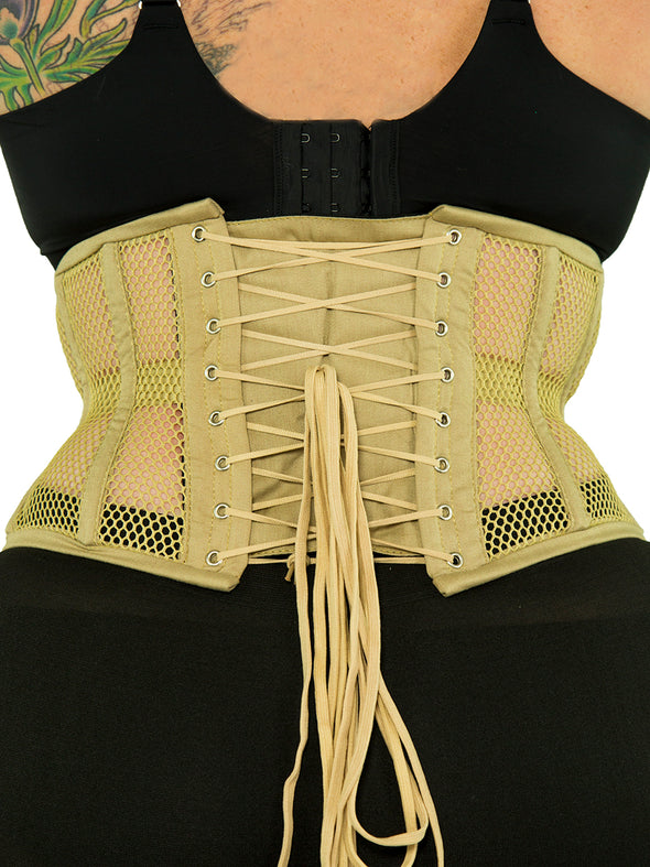 plus size 201 beige mesh steel boned waist training corset back view