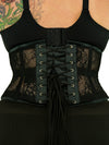 plus size 201 lace weave waspie steel boned corset back view