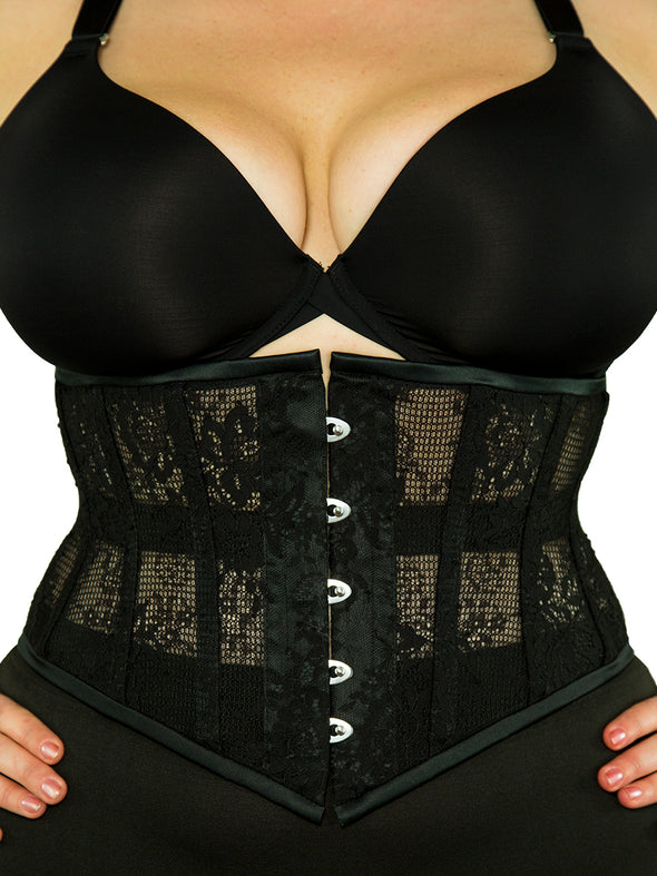 plus size 201 lace weave waspie steel boned corset front view