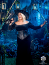 model dressed as a witch with cs 201 black leather steel boned corset